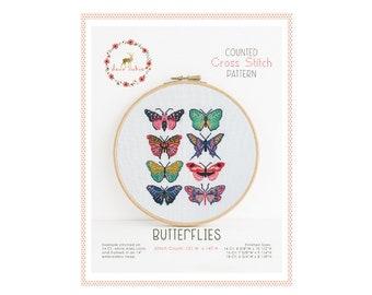 Counted Cross Stitch Pattern - Butterflies / cross stitch pattern, embroidery, pattern, gift, supply, instruction, butterfly, moth, stitch