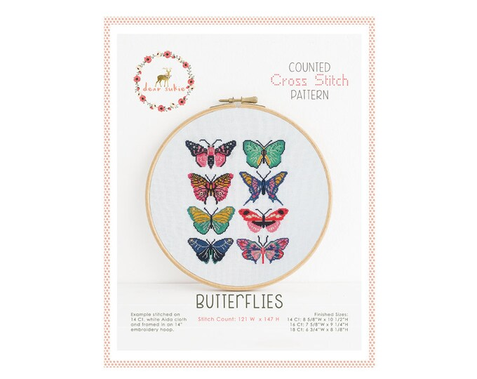 Counted Cross Stitch Pattern - Butterflies / cross stitch pattern, embroidery, pattern, gift, supply, instruction, butterfly, moth, stitch