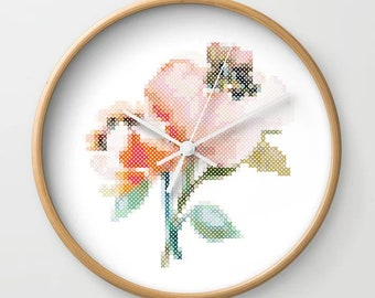 Stitcher's Wall Clock - time, clock, home decor, cross stitch, embroidery, craft room, decor, gift, handmade, decoration, home, house