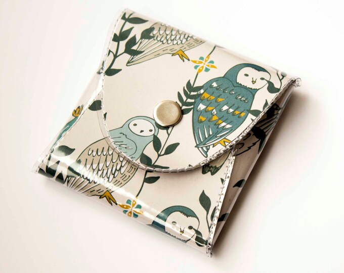 NEW Handmade Vinyl Coin Purse - Owls in Flowers / wallet, vegan, change, snap, small, little, pocket wallet, gift, owl, bird, woodland