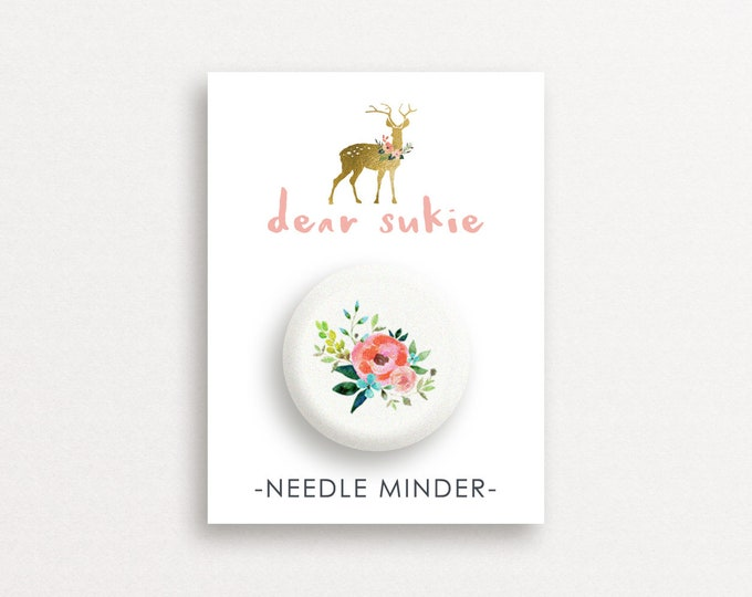 Needle Minder - Vintage Floral, cute needle minder, cute,  embroidery, cross stitch, needlework, supplies, xstitch, flower, magnet, gift