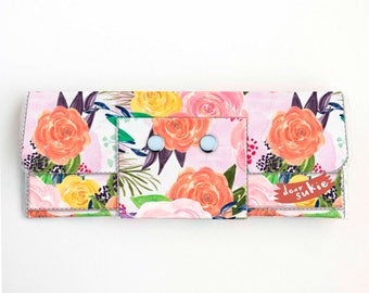 Vinyl Long Wallet - Joyful Spring1 / floral, pink, polka dot, vegan, pretty, large wallet, clutch, card case, vinyl wallet, big, woman