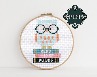 PDF Counted Cross Stitch - Wise Owl / owl cross stitch, diy, embroidery, pattern, gift, library, librarian gift, kids, books, reading