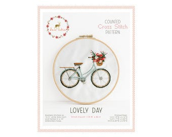 Counted Cross Stitch Pattern - Lovely Day / bike cross stitch, diy, how-to, embroidery, pattern, gift, supply, instruction, baby, nursery