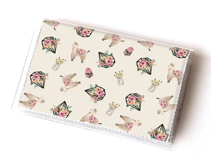 Handmade Vinyl Card Holder - Boho Llama / card case, vinyl wallet, women's wallet, small, pretty, alpaca, llama wallet, boho wallet, vegan