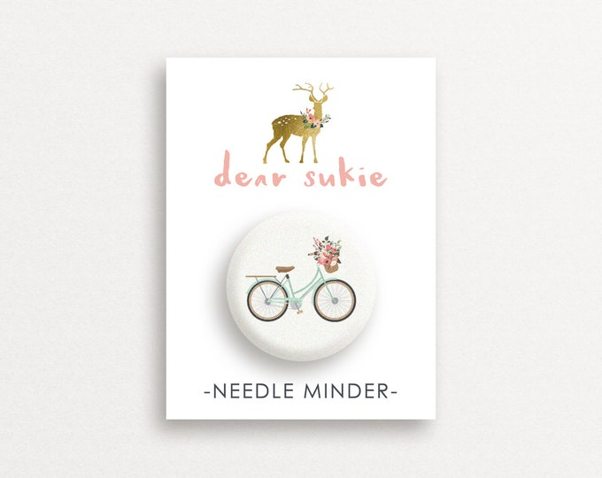Needle Minder - Lovely Day, needle minder bike,  embroidery, cross stitch, needlework,  needle minder for cross stitch, magnet, gift, cute