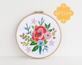 PDF Counted Cross Stitch - Vintage Floral / cross stitch pattern, embroidery, pattern, gift, baby, floral, flower, pretty, shabby chic
