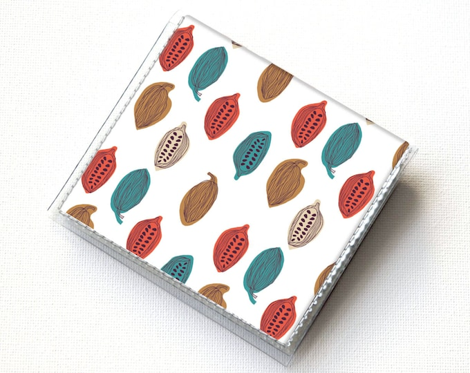 Vinyl Moo Square Card Holder - Cocoa Beans / chocolate, vinyl, snap, mini case, moo case, small, square, valentine, gift, men, woodgrain