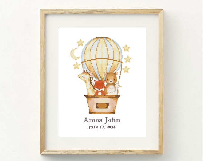 PDF Counted Cross Stitch - Balloon Ride Custom / fox cross stitch, bear, custom, text, pattern, gift, pretty, embroidery, giraffe