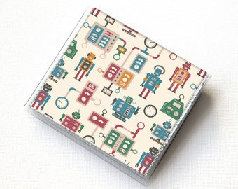 SALE Square Card Holder - Blooming Spring Floral / case, vinyl, snap, wallet, paper, square, pink wallet, square case, robots, men