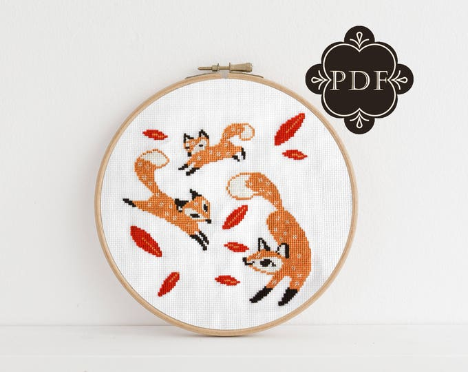 PDF Counted Cross Stitch - Frolicking Foxes / fox cross stitch, fall, diy, how-to, embroidery, pattern, gift, instruction, baby, nursery