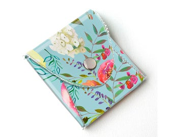 Vinyl Coin Purse - Pastel Floral Blue / coin, wallet, vegan, change, peony, small, little, pocket wallet, gift, flowers, floral, peonies