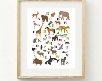 PDF Counted Cross Stitch - Wild Kingdom LARGE / cross stitch pattern, embroidery, pattern, gift, instruction, alphabet, animal, kids, abc