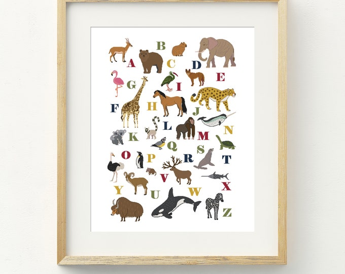 PDF Counted Cross Stitch - Wild Kingdom LARGE / cross stitch pattern, embroidery, pattern, gift, instruction, alphabet, animal, kids, abc