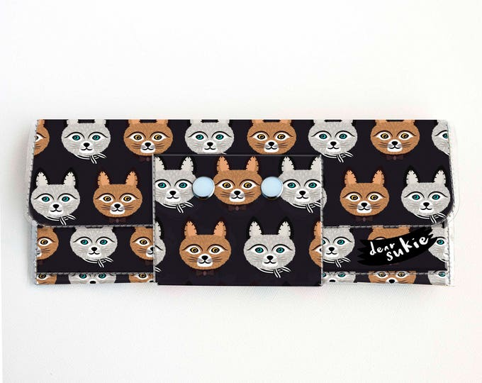 Vinyl Long Wallet - Big Meow1 / vegan, large wallet, clutch, card case, vinyl wallet, handmade, cat, kitten, cat lover, cat lady, kids