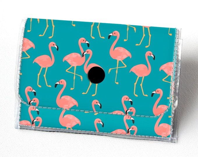 Vinyl Accordion Wallet - Tropical Summer1 /  floral, pineapples, flamingos, blue, small wallet, snap, cute, card case, vinyl wallet, women's