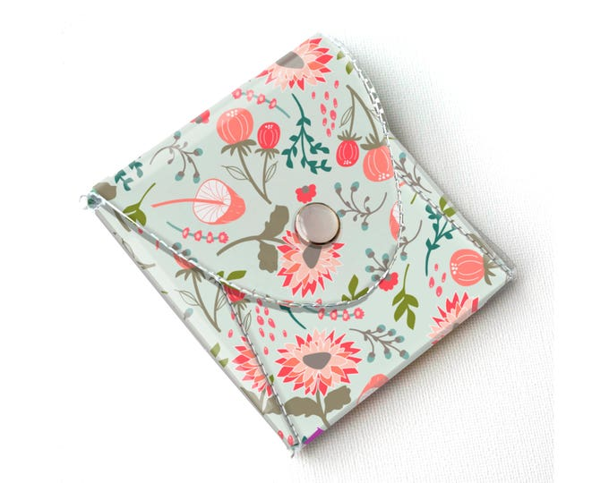 Vinyl Coin Purse - Springtime Flora / wallet, vegan, change, snap, small, little, pocket wallet, gift, floral, mint, flowers, pretty