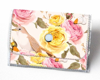 SALE Vinyl Accordion Wallet - Vintage Roses 2 / floral, bird, small wallet, snap, cute, card case, vinyl wallet, women's wallet, polka dot