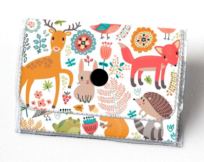 Vinyl Accordion Wallet - Fall Forest2 / fox, woodland, cute, small wallet, snap, cute, card case, vinyl wallet, deer, autumn, owl, frog