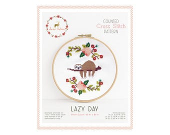 Counted Cross Stitch Pattern - Lazy Day / sloth cross stitch, diy, how-to, embroidery, pattern, gift, supply, instruction, baby, nursery,