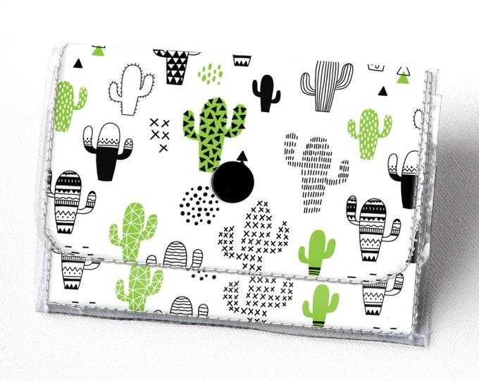 Vinyl Accordion Wallet - Cactus / cacti, succulents, small wallet, snap, cute, card case, vinyl wallet, women's wallet, green