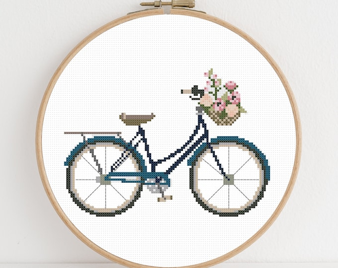 PDF Counted Cross Stitch - Blue Bicycle / floral cross stitch, bike, cycle, pattern, gift, instruction, pretty, embroidery, stitch, spring