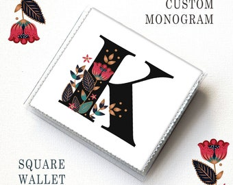 Square Card Holder - Custom Monogram Square Wallet / case, vinyl, snap, wallet, paper, square, initial wallet, square case, floral, custom