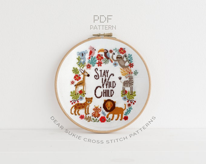 Featured listing image: PDF Counted Cross Stitch - Big Jungle / sloth cross stitch, lion, diy, how-to, parrot, pattern, gift, instruction, baby, nursery