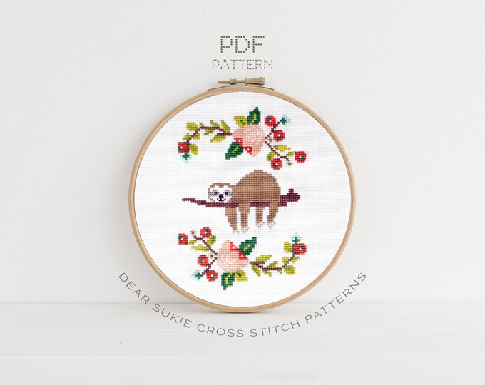 Featured listing image: PDF Counted Cross Stitch - Lazy Day / sloth cross stitch, diy, how-to, embroidery, pattern, gift, dmc, supply, instruction, baby, nursery,
