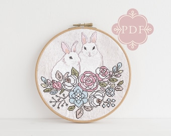 PDF Counted Cross Stitch - Secret Garden / bunny cross stitch, rabbit, embroidery, pattern, gift, bunnies, supply, instruction, floral