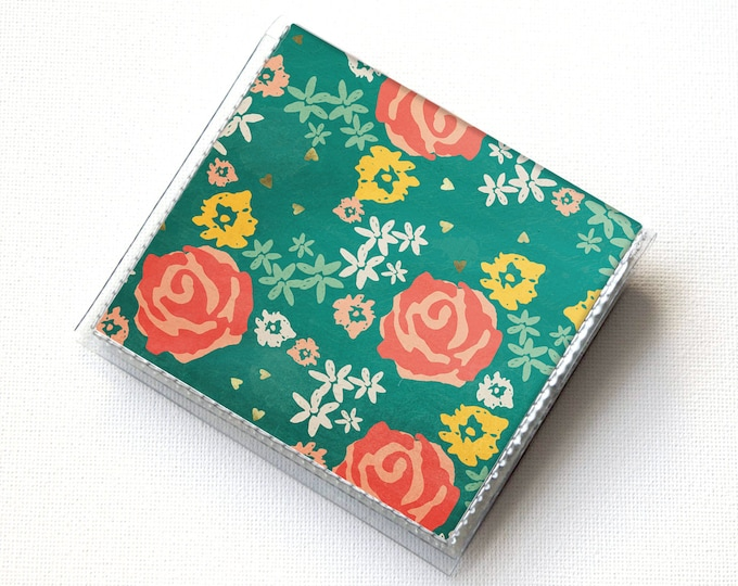 Square Card Holder - New Day / slim, vegan, floral,  vinyl, snap, mini case, moo case, small, square, gift, flowers, green, hearts, cute