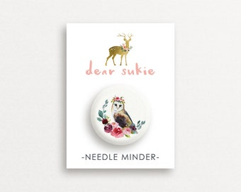 Needle Minder - Owl needle minder, bird,  embroidery, cross stitch, needlework, supplies, needle minder for cross stitch, magnet, gift, cute