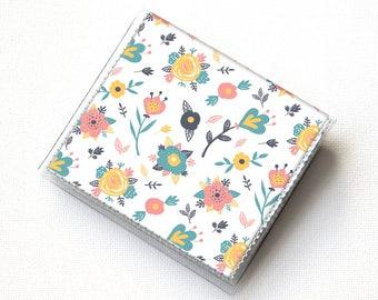 Vinyl Moo Square Card Holder - Spring Flowers / floral wallet, summer wallet, vinyl, snap, vegan wallet, small, square card, gift, handmade
