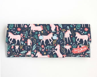 Vinyl Long Wallet - Unicorn Forest / vegan, magical, large wallet, clutch, card case, vinyl wallet, handmade, floral, cute, kids, childrens