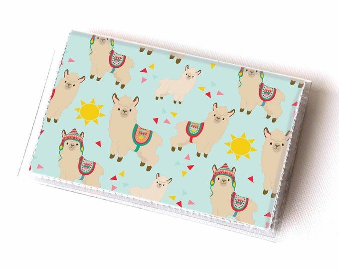 Vinyl Card Holder - Sunny Alpaca / llama, sun, cute, blue, case, vinyl wallet, women's wallet, small, pretty, handmade, polka dot