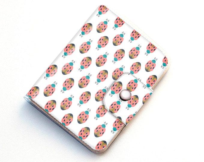 Handmade Vinyl Passport Case - Ladybug / traveller, passport, adventure, gift, vinyl, woman's, wallet, bug wallet, vegan wallet