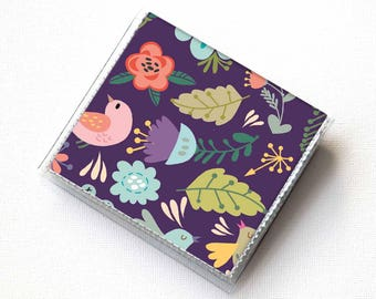 Handmade Vinyl Moo Square Card Holder - Gentle / case, vinyl, snap, wallet, paper, mini card case, moo case, square, birds, floral, purple