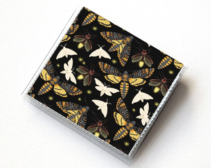 Square Card Holder - Moths and Fireflies / vegan, slim, butterflies, insects, snap, mini card case, moo case, small, square, gift, black