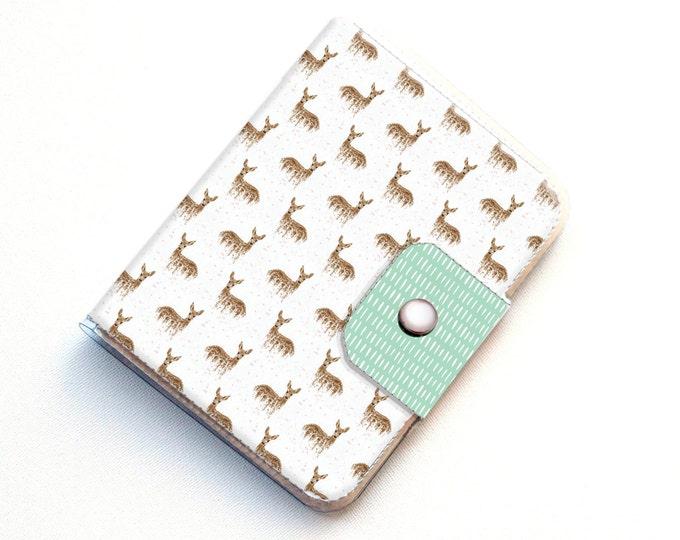 Handmade Vinyl Passport Case - Deers on White / traveller, passport, vinyl, gift, woman's, wallet, animal, woodland, deer,