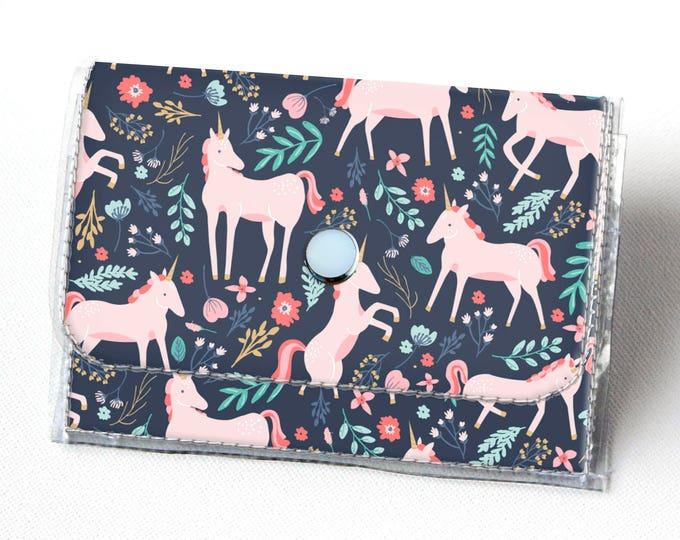 Handmade Vinyl Accordion Wallet - Unicorn Forest / magical, floral, pink, small wallet, snap, cute, card case, vinyl wallet, women's wallet