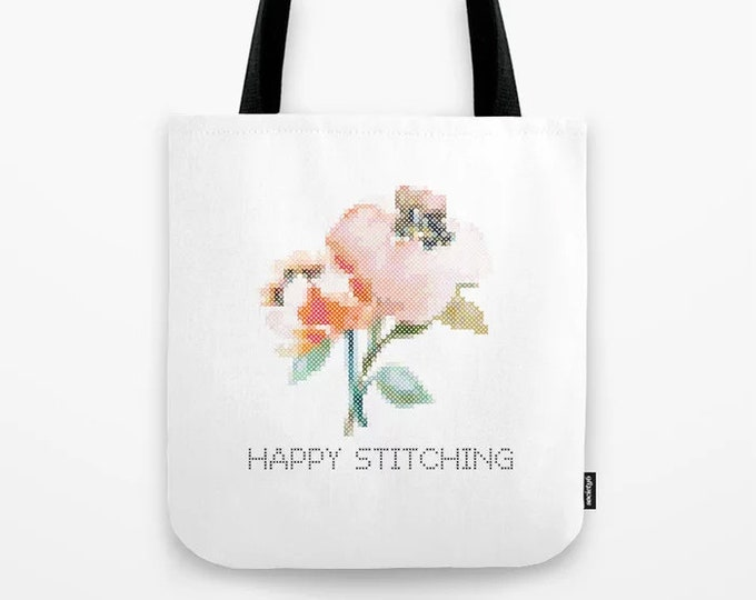 Crafters Tote - Happy Stitching / crafter bag, cross stitch, embroidery, gift,  handmade, maker, embroidery, stitching, stitcher, tote bag