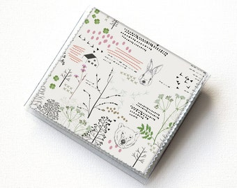 Vinyl Moo Square Card Holder - Forest / vinyl, snap, wallet, mini card case, moo case, small, square, woodland, forest, animal, deer, case,