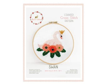 Counted Cross Stitch Pattern - Swan / cross stitch, diy, how-to, embroidery, pattern, gift, supply, instruction, baby, nursery, swan lake