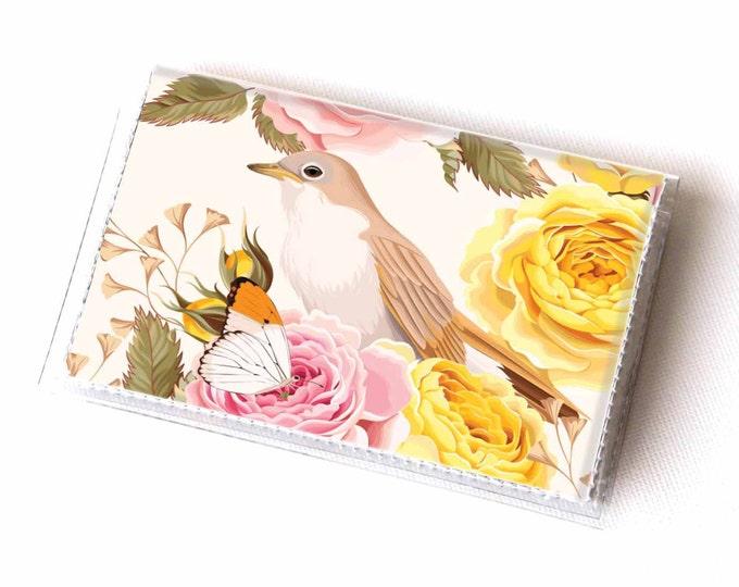 Vinyl Card Holder - Vintage Roses 2 / roses, floral, bird, flowers, card case, vinyl wallet, women's, small wallet, pretty, gift, pretty