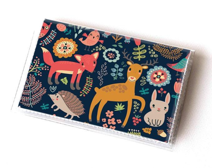 Vinyl Card Holder - Fall Forest1 / card case, vinyl wallet, women's wallet, small, pretty, handmade, cute, woodland, fox, deer, autumn