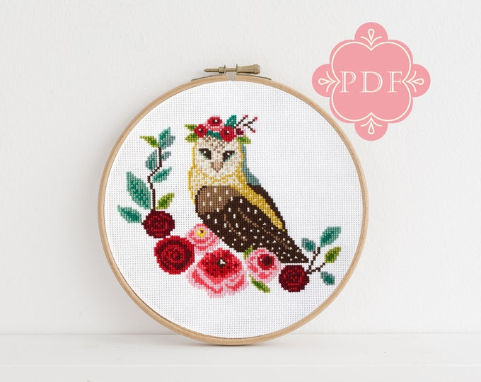 PDF Counted Cross Stitch - Owl / owl cross stitch, diy, how-to, embroidery, pattern, gift, dmc, supply, instruction, baby, nursery, floral