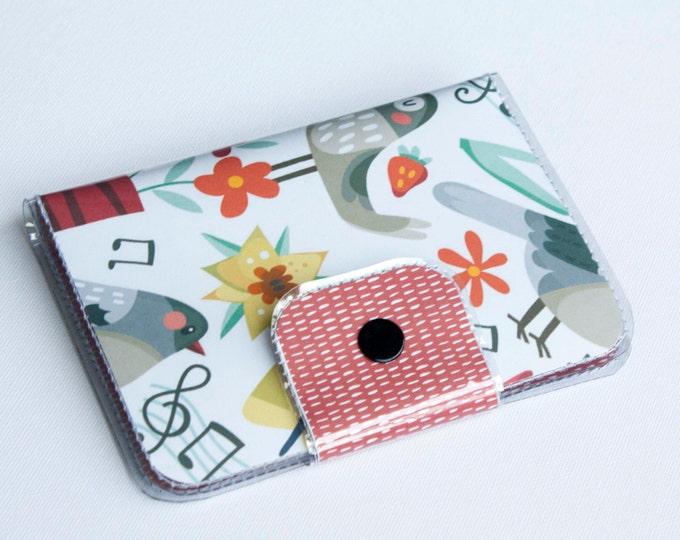 Handmade Vinyl Passport Case - Song Birds / traveller, passport, vinyl, gift, kids, childrens, butterflies, cute, travel, music, birds