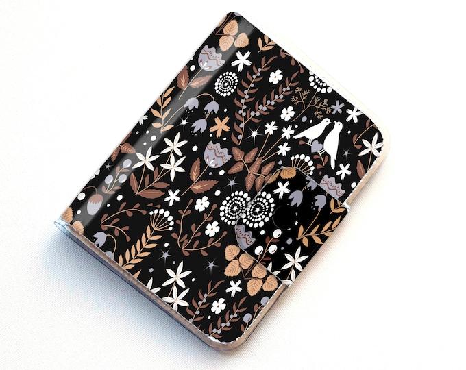 Handmade Vinyl Passport Case - Autumn Flora / traveller, passport, vinyl, gift, womans, wallet, flowers, floral, flowery, garden, bird