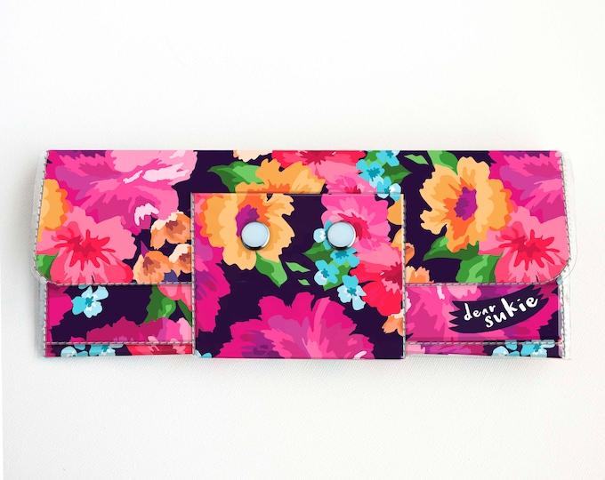 Handmade Vinyl Long Wallet - Margot Purple / purple wallet, floral wallet, vegan, large wallet, clutch, zipper, summer wallet, gift, cheery