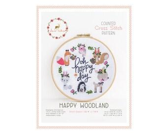 Counted Cross Stitch Pattern - Happy Woodland / cross stitch pattern, fox, embroidery, pattern, gift, deer, hedgehog, rabbit, xstitch